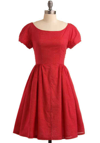 Rhubarb Harvest Dress - Red, White, Polka Dots, Bows, Casual, A-line, Short Sleeves, Spring, Summer, Mid-length