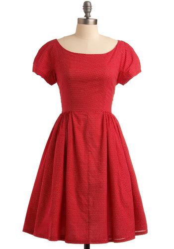 Rhubarb Harvest Dress | Mod Retro Vintage Printed Dresses | ModCloth.com :  sky blue floral polka dots summer dress