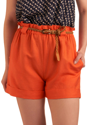 Slice of Color Shorts - Orange, Solid, Braided, Buckles, Pockets, Casual, Spring, Summer, Mid-length