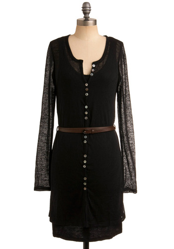 European Leisure Tunic - Black, Solid, Buttons, Casual, Long Sleeve, Long, Belted, Sheer, Best Seller, Button Down