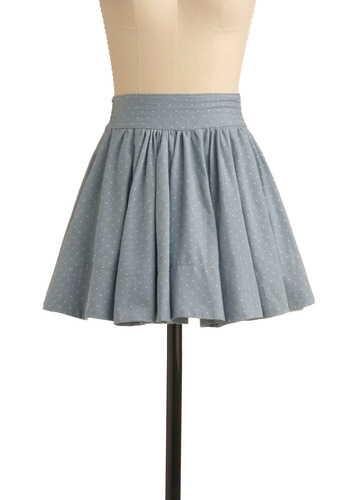 Denim Going Dotty Skirt | Mod Retro Vintage Skirts | ModCloth.com :  swingy blue and white polka dots pleats