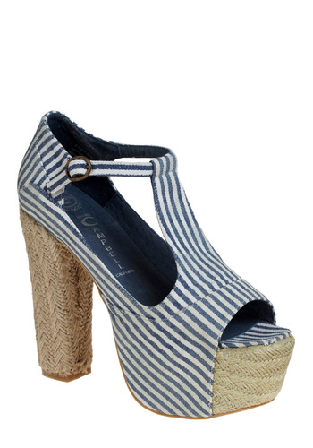 Cruise to Cape Cod Heel by Jeffrey Campbell - Blue, White, Stripes, Casual, Nautical, Spring, Summer