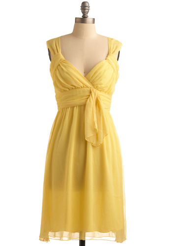 Sunshine on My Mind Dress - Yellow, Solid, Wedding, Party, Casual, Vintage Inspired, 50s, Empire, Tank top (2 thick straps), Spring, Summer, Long