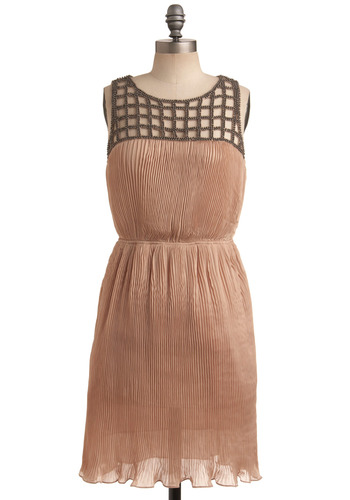 Pleats Don't Go Dress - Bronze, Beads, Cutout, Pleats, Party, Casual, A-line, Sleeveless, Tan, Mid-length