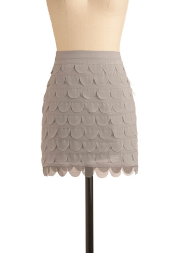 Sashay Away Skirt - Grey, Solid, Scallops, Tiered, Special Occasion, Wedding, Party, Shift, Mini, Short