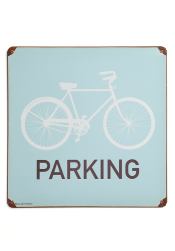 Bike on a Hot Tin Sign by FluffyCo - Blue, Brown, White, Dorm Decor