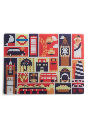Piccadilly Surface Cutting Board - Multi, Red, Yellow, Blue, Brown, White, Vintage Inspired