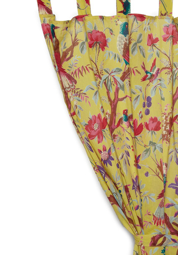 Flora and Fauna and Fabulous Curtain in Yellow by Karma Living - Yellow, Dorm Decor, Cotton, Holiday Sale, Better, Summer, Top Rated, Bird, Woodland Creature, Wedding