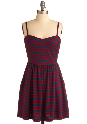 Whale Watching Dress - Stripes, Casual, Nautical, A-line, Spaghetti Straps, Spring, Summer, Red, Blue, Short