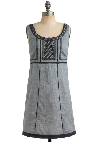 Peak Your Interest Dress - Blue, Crochet, Embroidery, Casual, Empire, Sleeveless, Spring, Summer, Trim, Mid-length