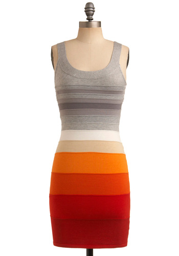 San Diego Sun Dress - Orange, White, Stripes, Casual, Shift, Summer, Tan / Cream, Tank top (2 thick straps), Grey, 80s, Short, Bodycon / Bandage