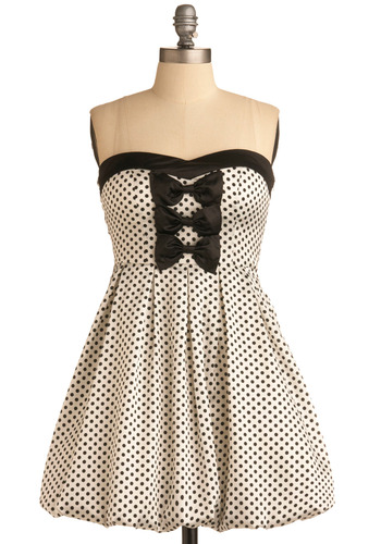 Flashback Film Sweetheart Dress - Black, White, Polka Dots, Bows, Pleats, Formal, Wedding, Party, Vintage Inspired, 50s, A-line, Strapless, Short