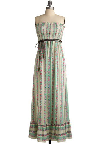 Saturday Market Dress in Flowers - Green, Multi, Orange, Pink, Brown, Tan / Cream, White, Polka Dots, Stripes, Floral, Braided, Ruffles, Casual, Vintage Inspired, 70s, Empire, Maxi, Strapless, Spaghetti Straps, Long, Boho