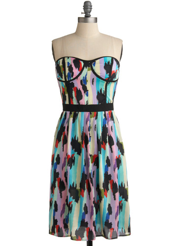 Day at the Derby Dress - Multi, Casual, A-line, Strapless, Spring, Summer, Long