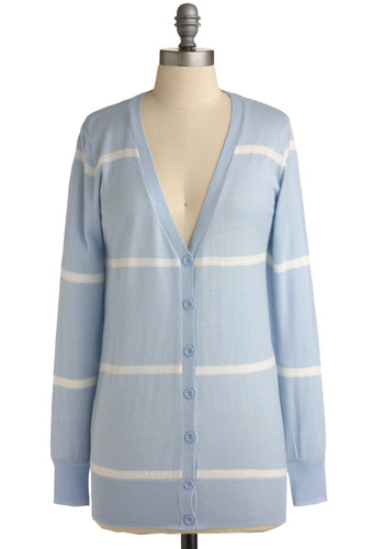 On a Clear Day Cardigan - Blue, White, Stripes, Buttons, Work, Casual, Long Sleeve, Mid-length