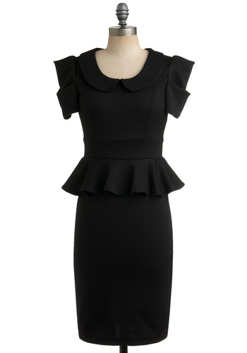 Work with Me Dress - Black, Solid, Ruffles, Work, Long, Peplum, Best Seller, Collared, Peter Pan Collar, Vintage Inspired, 40s, 80s, Short Sleeves, Variation, Pinup, LBD, Top Rated