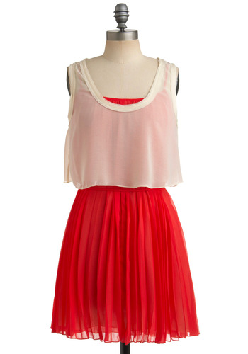Cherry a la Mode Dress - Red, White, Pleats, Casual, Sack, Spaghetti Straps, Tank top (2 thick straps), Spring, Summer, Mid-length
