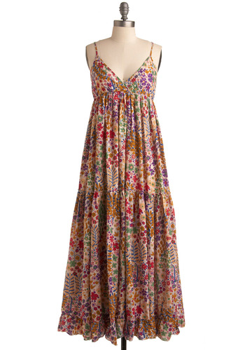 Make Fleur Own Music Dress - Pink, Multi, Floral, Casual, Urban, Maxi, Spaghetti Straps, Spring, Summer, Long