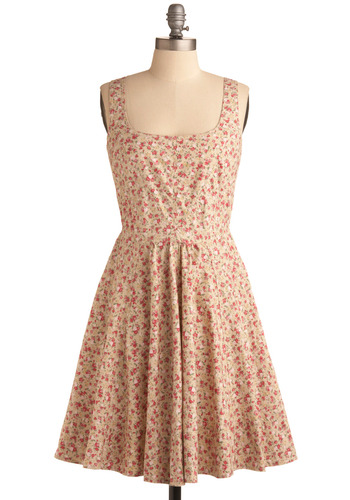 Meadow Relaxation Dress in Posy | Mod Retro Vintage Printed Dresses | ModCloth.com :  flowy neutral posy print sundress