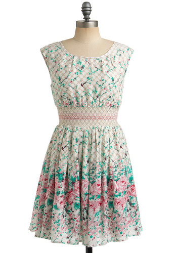 Garden Gates Dress by Darling - White, Multi, Green, Purple, Pink, Tan / Cream, Floral, Casual, A-line, Cap Sleeves, Spring, Summer, Rockabilly, Vintage Inspired, 40s, 50s, Short
