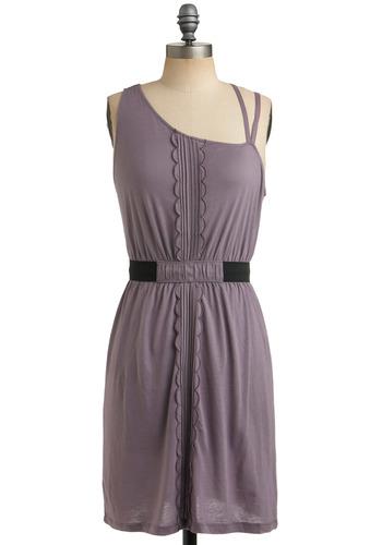 Angle Management Dress by Gentle Fawn - Purple, Pleats, Scallops, Casual, Shift, Spaghetti Straps, One Shoulder, Short