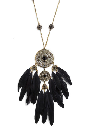 Downpour Necklace - Black, Gold, Feathers, Rhinestones, Casual, Boho, Vintage Inspired, 70s, Statement