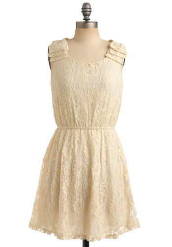 Gorgeous Grad Dress - Cream, Lace, Pleats, Formal, Wedding, Party, Luxe, A-line, Sleeveless, White, Solid, Graduation, Mid-length, Prom, Bride, Summer