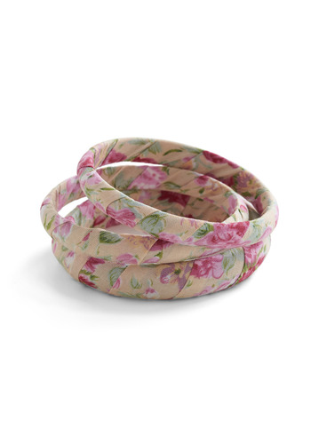 Natural Style Bangles - Cream, Multi, Green, Pink, Floral, Casual, Vintage Inspired, Spring, Summer, Fall