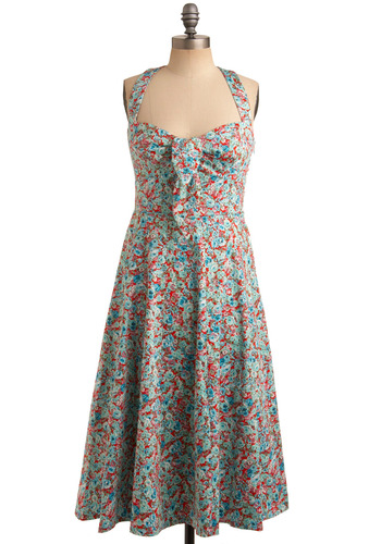 Rose-merry Making Dress | Mod Retro Vintage Printed Dresses | ModCloth.com :  blue knot detail criss cross seafoam