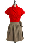 Sweet Little Librarian Dress - Red, Pleats, Work, Casual, Twofer, Short Sleeves, Wrap, Grey, Mid-length