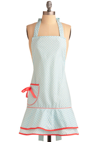Loretta Deco Dot Apron | Mod Retro Vintage Kitchen | ModCloth.com :  blue and white apron ribbon polka dots