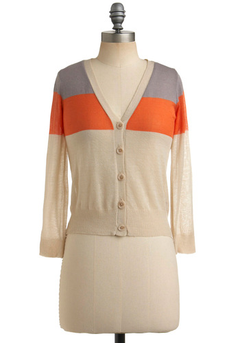 Writer's Colorblock Cardigan | Mod Retro Vintage Sweaters | ModCloth.com :  tricolor cropped colorblock grape