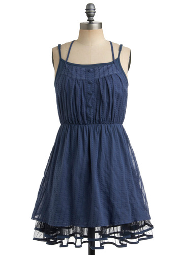 Liked and Lovely Dress in Dusty Blue - Blue, Solid, Buttons, Casual, A-line, Spaghetti Straps, Racerback, Spring, Summer, Short