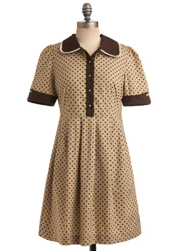 Portrait Perfect Dress | Mod Retro Vintage Printed Dresses | ModCloth.com :  shirt dress placket polka dot preppy