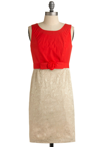 Eat, Drink, Be Merry Dress | Mod Retro Vintage Solid Dresses | ModCloth.com :  high neckline coral princess seams sheath dress