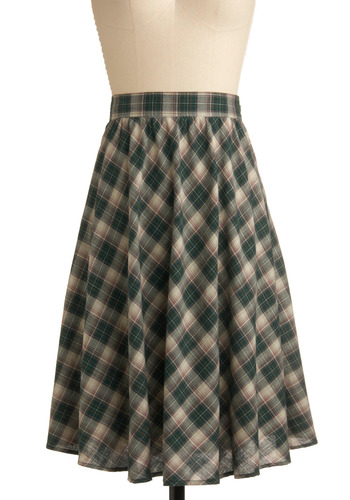 Plaid to Be Me Skirt - Green, Multi, Plaid, Casual, A-line, Long