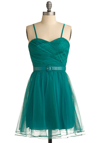 Pouf, the Magical Dragon Dress - Green, Solid, Special Occasion, Prom, Wedding, Party, A-line, Spaghetti Straps, Short
