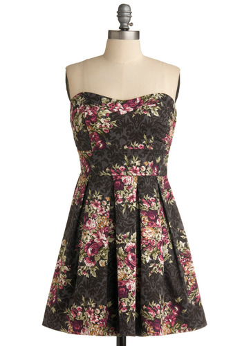 Filigree and Floral Dress - Multi, Green, White, Floral, Pleats, Casual, Empire, Strapless, Spring, Summer, Pink, Grey, Mid-length