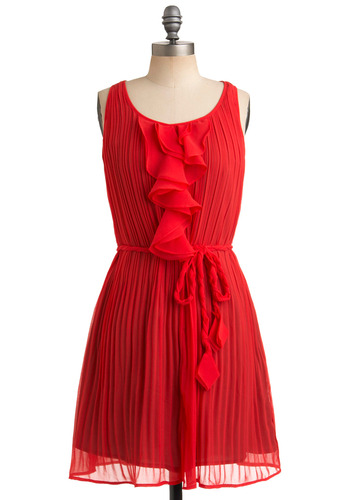 Vermilion Reasons Why Dress - Red, Orange, Solid, Braided, Pleats, Ruffles, Party, Casual, Sack, Sleeveless, Tank top (2 thick straps), Spring, Summer, Mid-length