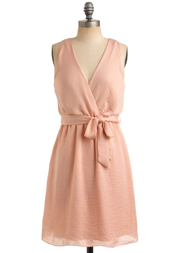 Nectarine Dream Dress - Pink, Solid, Casual, Sheath / Shift, Sleeveless, Spring, Summer, Mid-length