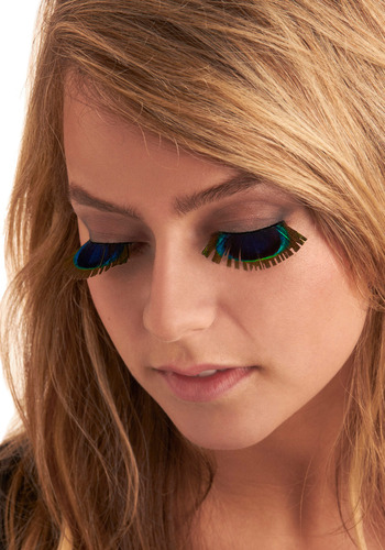 Peek of Peacock Lashes - Blue, Green, Brown, Feathers, Party, Casual, Boho, Statement