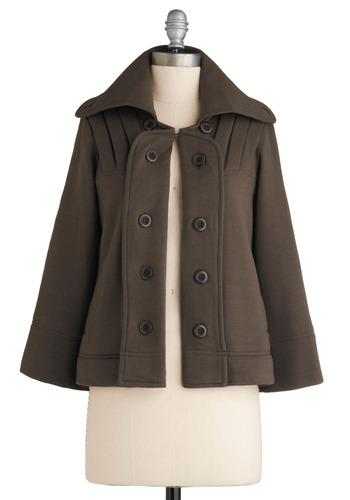 Evening Class Jacket - Brown, Solid, Buttons, Pleats, Casual, Long Sleeve, Winter, 2, Short