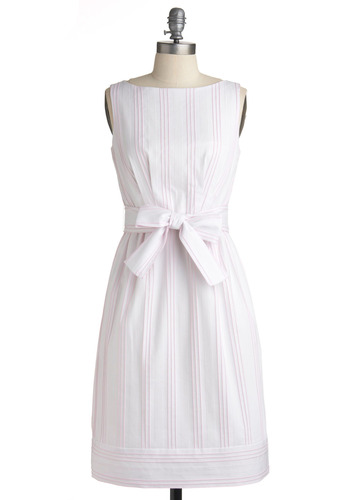 Punch by the Lake Dress - White, Pink, Stripes, Bows, Casual, A-line, Sleeveless, Spring, Summer, Long
