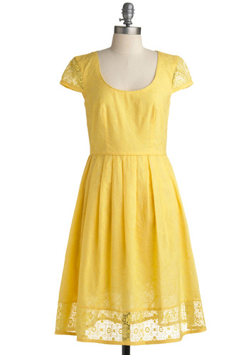 Morning, Sunshine Dress | Mod Retro Vintage Printed Dresses | ModCloth.com :  embroidered yellow leafy pleated