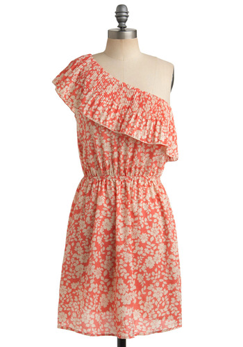 Palmy Weather Dress - Pink, Cream, Floral, Ruffles, Casual, A-line, One Shoulder, Spring, Summer, Mid-length