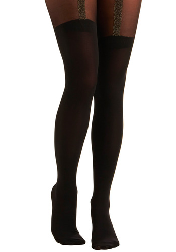 All Things that Glitter Tights - Black, Party, Casual
