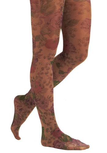 Sparkles and Roses Tights | Mod Retro Vintage Tights | ModCloth.com :  rose print lavender sparkly gray
