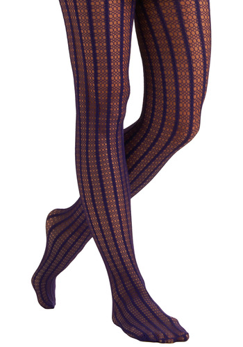 Beyond the Playground Fence Tights - Purple, Stripes, Crochet, Lace, Casual, Spring, Summer, Fall