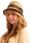Phi Beta Cap-a in Pledge - Tan, Brown, Multi, Polka Dots, Stripes, Bows, Buttons, Trim, Woven, Casual, Spring, Summer, Fall