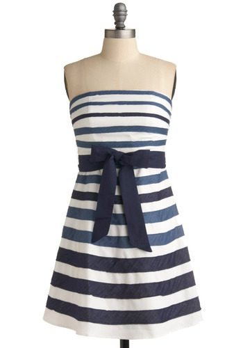 Chambray a Day Dress - Stripes, Bows, Casual, Nautical, A-line, Strapless, Spring, Summer, Blue, White, Mid-length